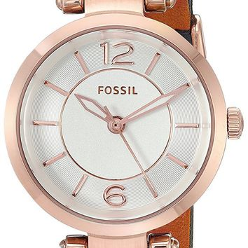 Fossil Women's Georgia Mini Watch In Rose Goldtone With Blue Leather Strap