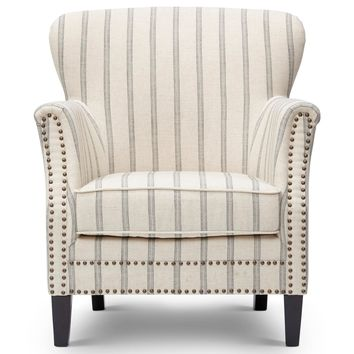 Fabric Upholstered Wooden Accent Chair With Nail head Trim, White & Gray - BM183584