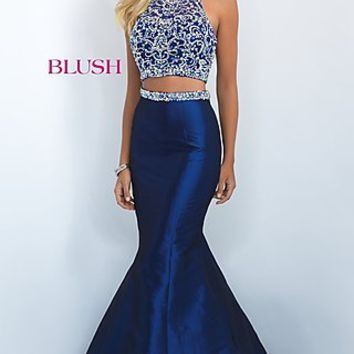 Two Piece Long Racerback Taffeta Dress by Blush