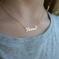 """My Name Necklace Small Child Size 14"""" twisted Singapore chain ORDER ANY NAME Solid 14k Gold (not gold plated or filled) personalized"""