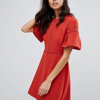Whistles Estrella Fluted Sleeve Dress at asos.com