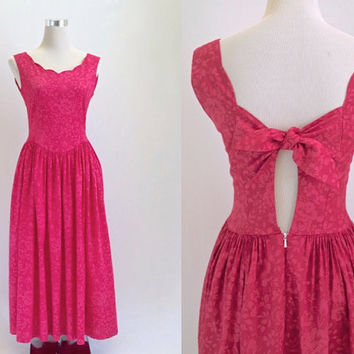 Vintage Laura Ashley Dress - Fuchsia Pink Sun Dress - Floral Summer Dress