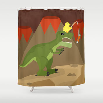 dinosaur Shower Curtain by Nir P | Society6