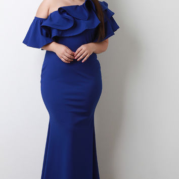 Ruffle Flutter One Shoulder Mermaid Maxi Dress | UrbanOG
