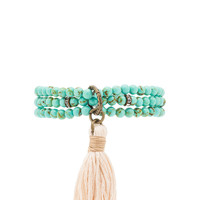 Ettika Beaded Wrap Bracelet in Turquoise & Cream