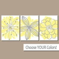Yellow Gray Wall Art, Canvas or Prints Yellow Gray Bathroom Decor, Bedroom Pictures, Flower Wall Art, Flower Burst Set of 3 Home Decor