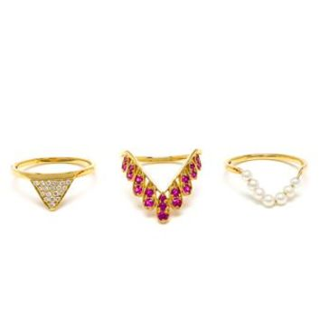 YVONNE LEON | 18k Gold Three Ring Set | brownsfashion.com | The Finest Edit of Luxury Fashion | Clothes, Shoes, Bags and Accessories for Men & Women