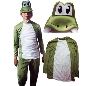 2017 NEW Super Mario Bros. boy's Kid Yoshi Deluxe Adult Costume cosplay asian size Halloween Easter Holiday Cosplay Dress
