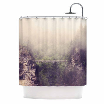 "Sylvia Coomes ""Foggy Mountain Landscape"" Brown Green Shower Curtain"