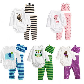 LUM 3pcs Baby Rompers Long Sleeve Cotton Baby Infant Cartoon Animal Newborn Baby Clothes Romper+hat+pants Clothing Set = 1930115140