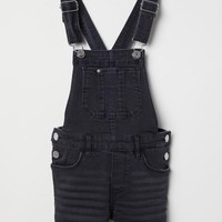 Bib Overall Shorts - Black - Kids | H&M US