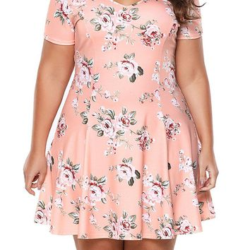 Chic Plus Size Coral Floral Mini Dress