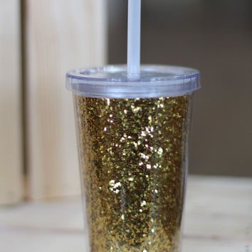 Small Gold Glitter Tumbler {10 oz}