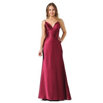 V-Neck Long Formal Dress with Spaghetti Strap Cherry Red