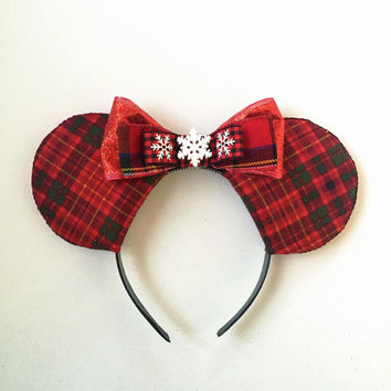 Winter Mickey Ears, 50% OFF Red Plaid Mickey Ears, Disney Inspired Ears, Winter Mouse Ears, Winter Ears, Snowflake Ears,Mickey Ears Headband