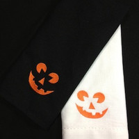 Jack O' Lantern Pumpkin Halloween Embroidered Cloth Napkins - Set of 4 napkins
