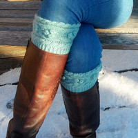 Hand knit boot cuffs/ Boot Cuff/ Boot Toppers/ Leg Warmers/ Boot Socks/ Knit Legwarmers/ Cable Knitted/ Winter Accessories
