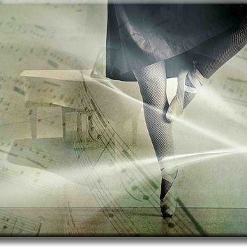Ballerina Music Notes Picture on Acrylic , Wall Art Décor, Ready to Hang
