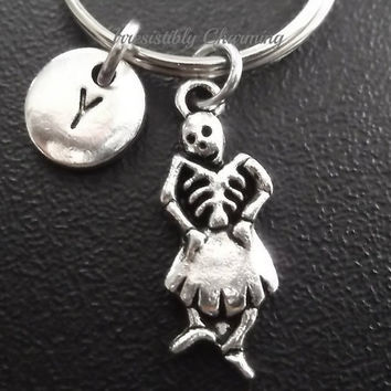 Skeleton keyring, keychain, bag charm, purse charm, monogram personalized custom gifts under 10 item No.620
