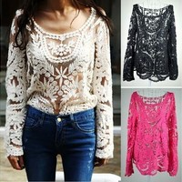 Hot Semi Sheer Women Long Sleeve Embroidery Floral Lace Crochet T-Shirt Tops Blouse [9305654727]