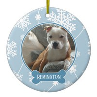 Blue White Snowflakes Photo Christmas Ornament