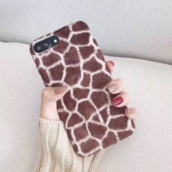 ONETOW Leopard deer plush plush cute iphone 7 \ 6s mobile phone shell cat iphone7Plus all-inclusive soft cover F