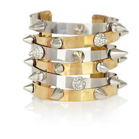 silver and gold tone spike and crystal cuff