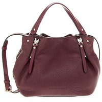 Burberry Women's 'Maidstone' Small Check Detail Tote Bag Burgundy