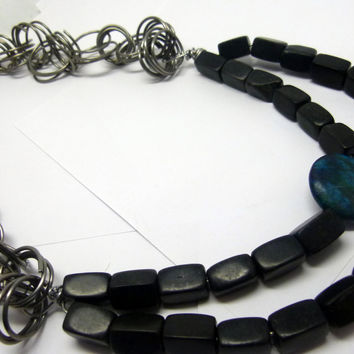 Long and chunky statement necklace, black stone and turquoise necklace , wide necklace