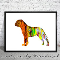 Bullmastiff Watercolor Print,Children's Wall, Art Home Decor, dog watercolor,watercolor painting,animal watercolor, Bullmastiff art,dog art