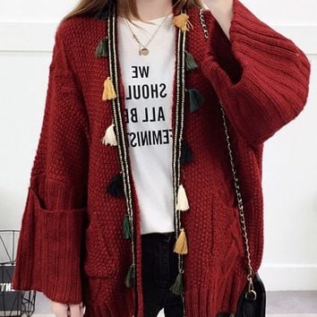 Burgundy Tassel Trim Open Front Cardigan