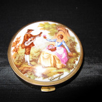 Limoges Powder Compact Fragonard, Stamped Made in France, french antique porcelain courting couple case vintage