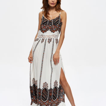 Fashion Print Hollow V-Neck Sleeveless Strap Split Maxi Dress