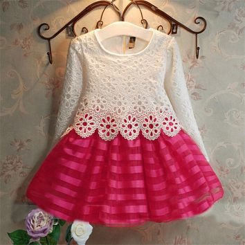 New 2018 Girls Dresses Fashion Casual Summer Lace crochet Tutu Dress Kids Girl Party Clothes for 2-6Y Children Vetement Fille