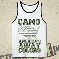 Camo America's Away Colors Tank - Tshirt - Tee - Shirt - Mens - Funny - Merica - Fourth of July - Military - Camoflauge - America - Murica