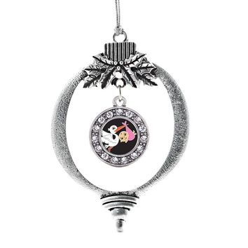 Stork Brings a Girl Circle Charm Holiday Ornament