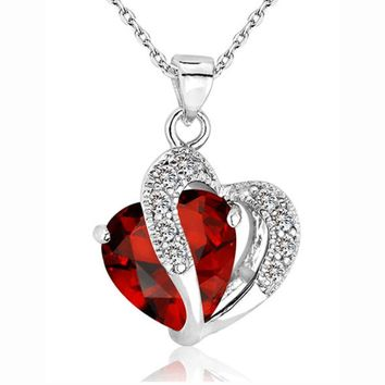 Heart Crystal Rhinestone Silver Chain Pang heart Crystal Necklace