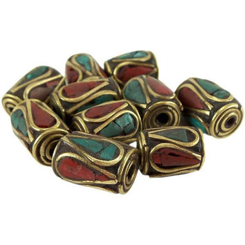 Tibetan Nepal Beads Red and Turquoise Pressed Stones 8 mm x 10 mm One Piece per Package