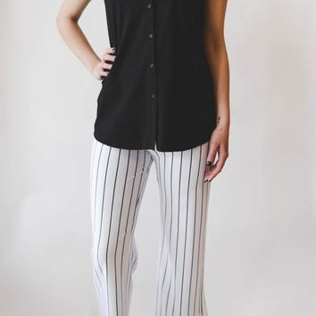 June Sleeveless Button Up - Black