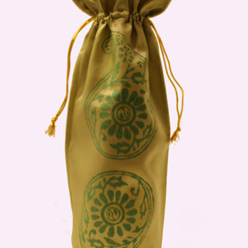 One of a kind shimmery fabric sage green metallic Wine Bag gift bag Hostess gift favors green paisley flower block printed reusable