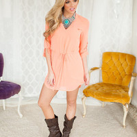 Charismatic V-Neck Dress with Tie in Orange