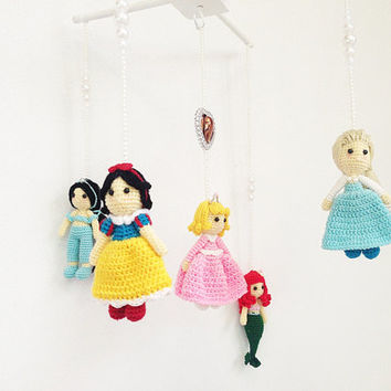 Baby mobile - Princess collections Elsa, Snow white, Jasmine, Sleeping Beauty, Ariel   baby crib mobile, nursery decor, crochet, baby gift
