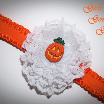 Newborn Halloween headband , baby Halloween pumpkin , toddler Halloween headband, lace flower , orange headband , fancy Halloween headband