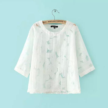 Summer Pullover Tops Korean Women's Fashion Lace Mosaic T-shirts [4919926532]