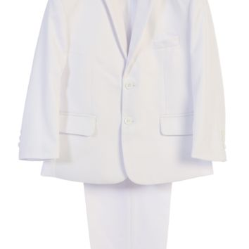(Sale) Boys Size 8 White Two-Piece Suit w. 2-Button Jacket & Trousers