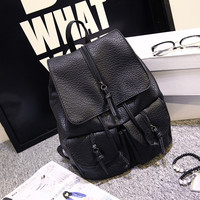 Black Soft Leather Style Large Capacity Vintage Travel Bag Backpack