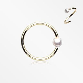 Golden Pearl Bead Bendable Nose Hoop