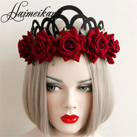 Haimeikang Flower Wreath Woman Girls Floral Crown Tiaras Headband Boho Red Rose Flower Bride Hairbands Party Hair Accessories