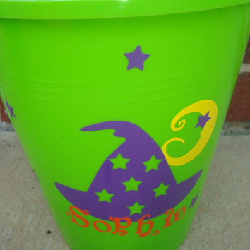 Halloween  Personalized Bucket Witches hat owl frankenstien spooky font