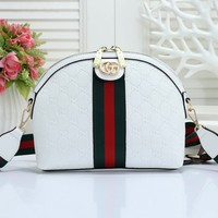 Gucci Fashion Lady Streak Printed Single Shoulder Bag White